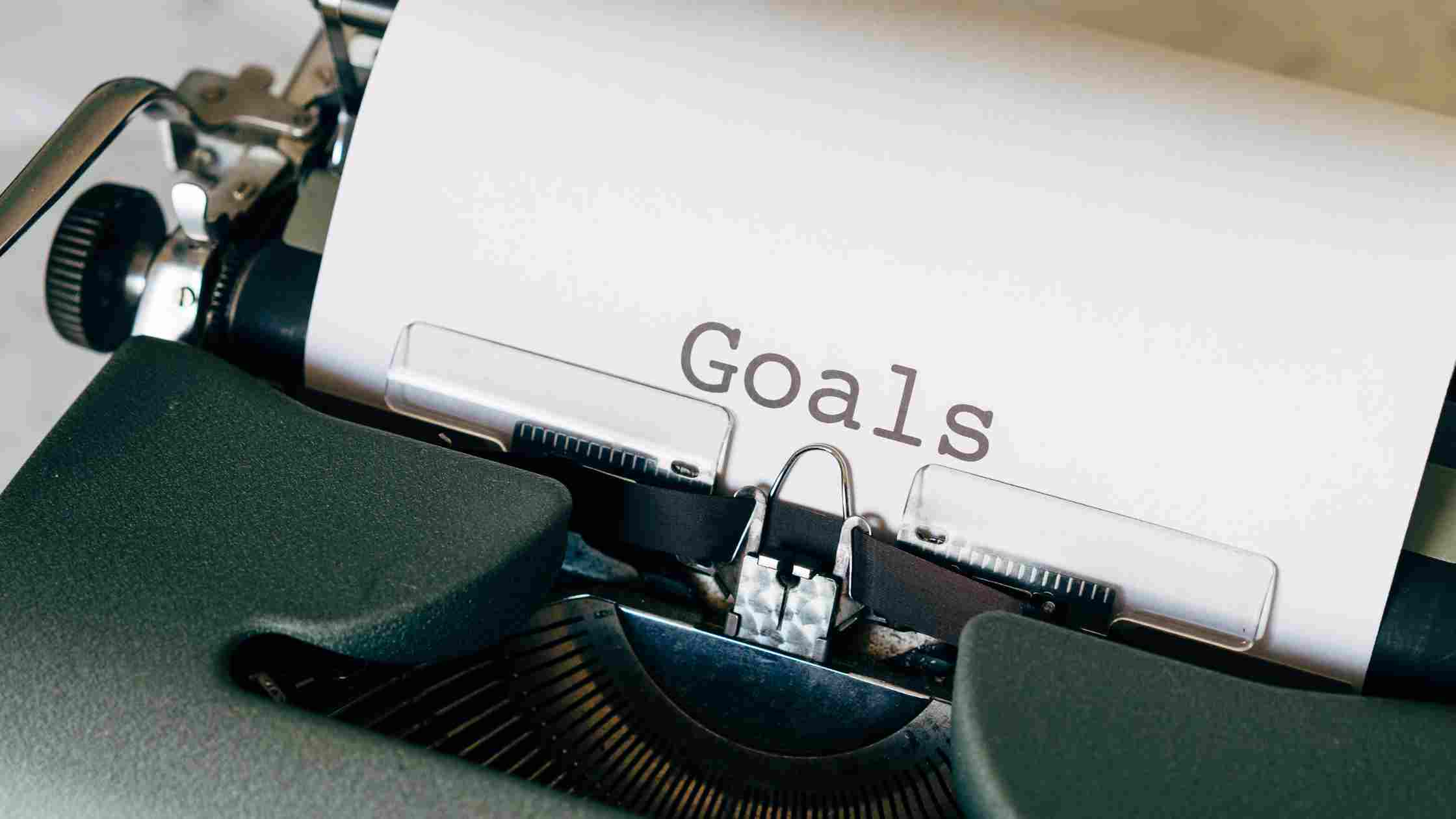 "A picture of a typewriter entitled ""goals""."