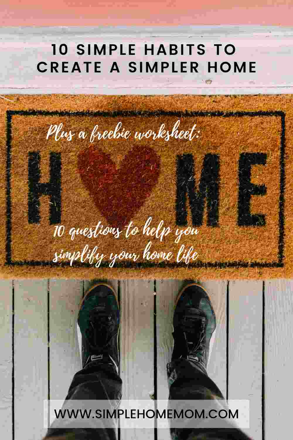 "Someone standing next to a doormat that says ""home."""
